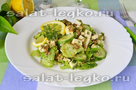 рецепт салата с брынзой и тунцом