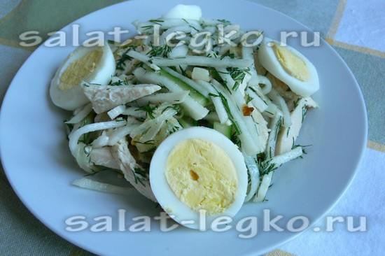 рецепт салата Ташкент с курицей, редькой и яйцом