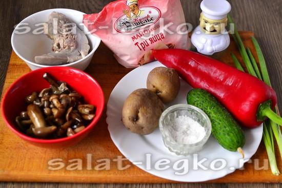 Ингредиенты для приготовления салата из языка и опят