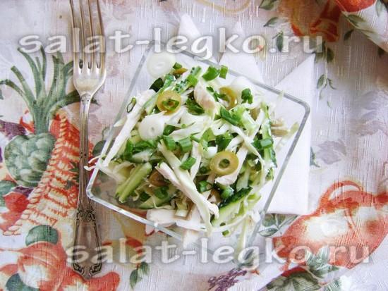 рецепт салата Дамский с курицей и оливками