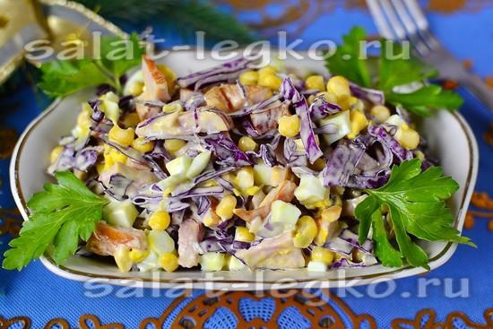 Рецепт салата с краснокочанной капусты с ветчиной