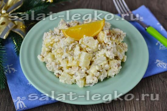 Рецепт салата с куриной грудкой, ананасом и апельсинами