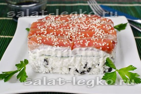 Рецепт салата суши слоями