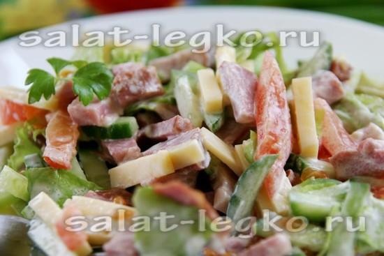 как приготовить салат с ветчиной, сыром, помидорами и огурцами