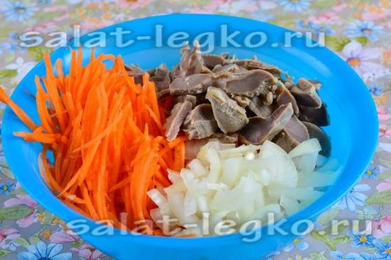 Смешать желудки, морковку и лук