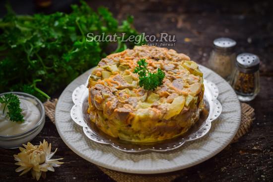 Выкладываем на тарелку салат