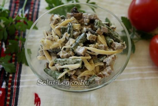 салат из говяжьего языка и спаржевой фасоли