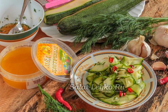 маринованные кабачки с медом и чесноком