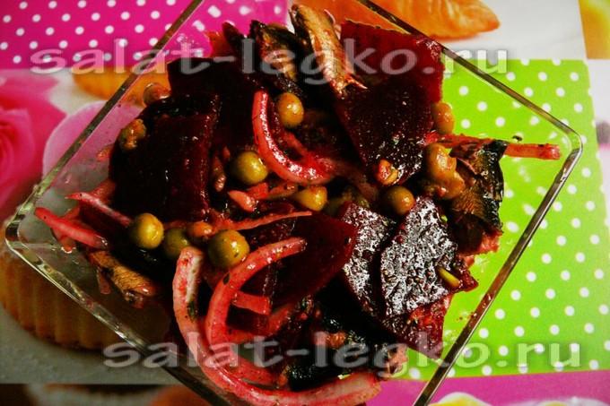 салат из свеклы с шпротами фото рецепт