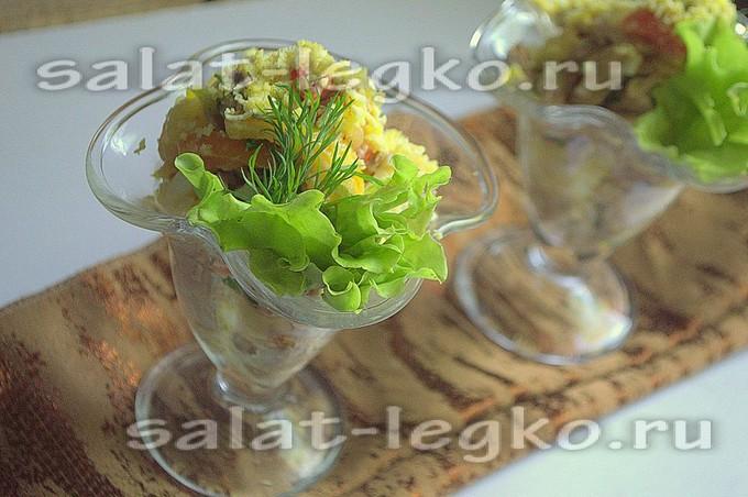 Салат с языком говяжьим шампиньоны