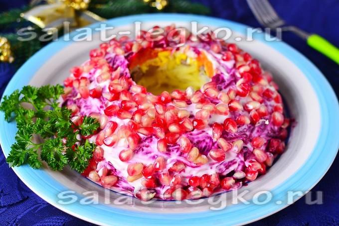 гранатовый браслет с языком салат рецепт