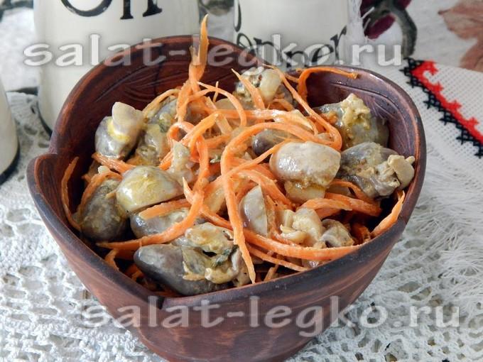 куриные сердечки печень и китайский салат рецепты