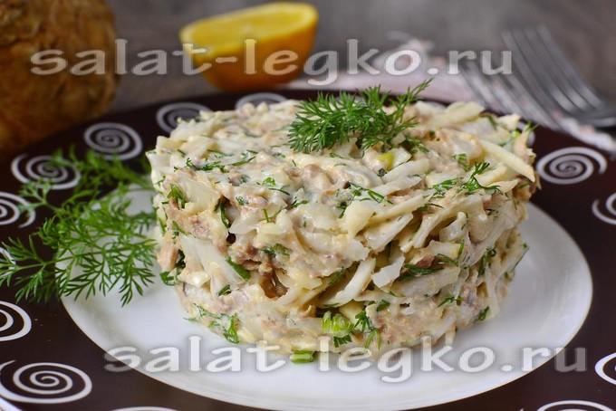 рецепт салат из тунца и сельдерея
