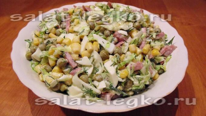 """Салат с зеленым горошком и кукурузой """"Легкость"""""""