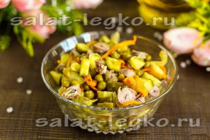 Самый вкусный салат из куриных сердечек