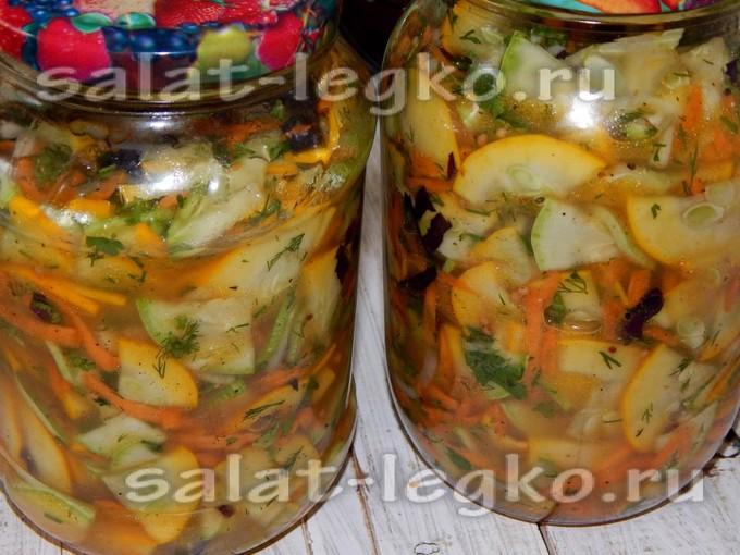 Салат в банки на зиму из кабачков 10