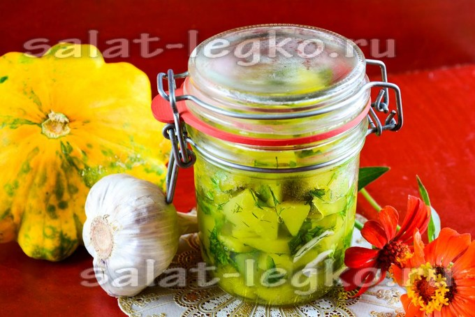 Салат из патиссонов с чесноком на зиму