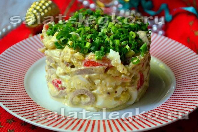 салат с говяжьим языком и креветками рецепт
