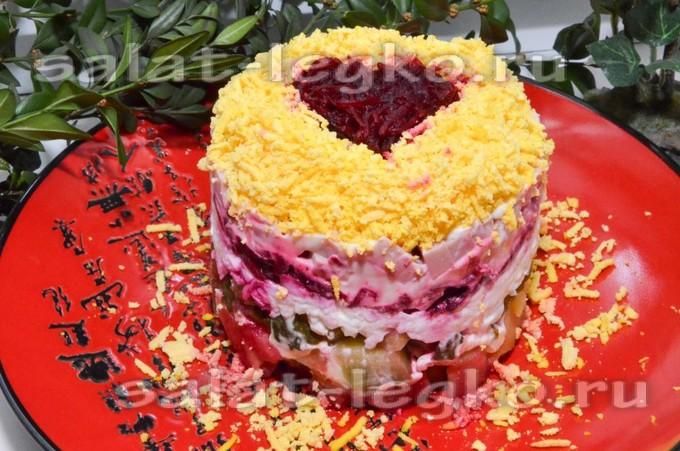 салат в виде сердца для любимого рецепт