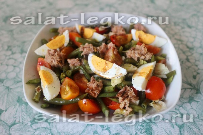 Салат из стручковой фасоли с помидорами и тунцом - рецепт пошаговый с фото