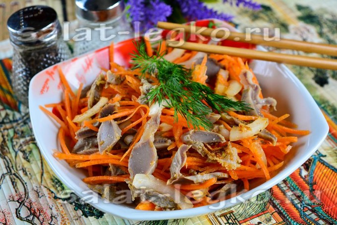 Куриные желудки с морковью по-корейски