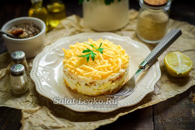 """Салат """"Нежный"""" с яблоком, сыром и яйцом"""
